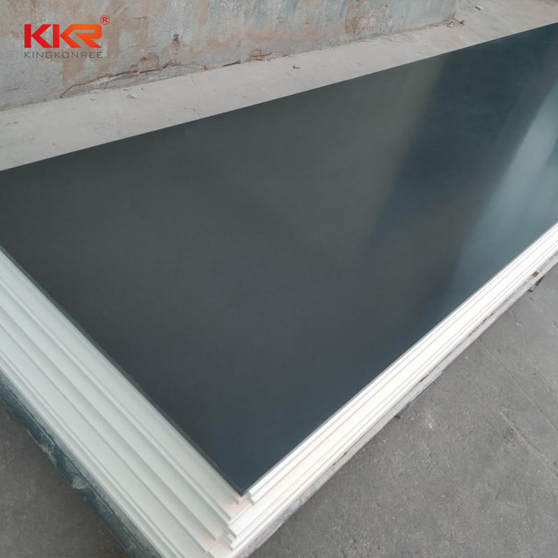 96 Inch Length Black Artificial Marble 100% Pure Acrylic Solid Surface Sheet Slabs KKR-M2707