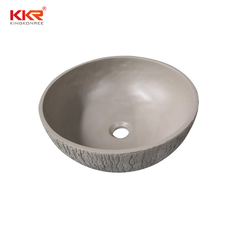 Bark grain cement grey countertop sink above countertop basin KKR-1161