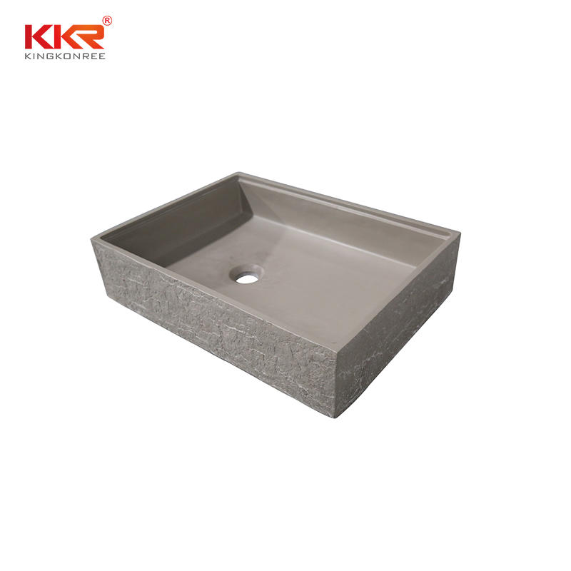 Bark grain rectangle cement grey solid surface above countertop basin KKR-1160