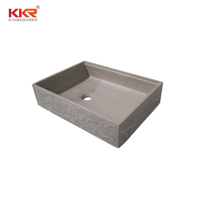 Bark grain rectangle cement grey solid surface above countertop basin KKR-1160