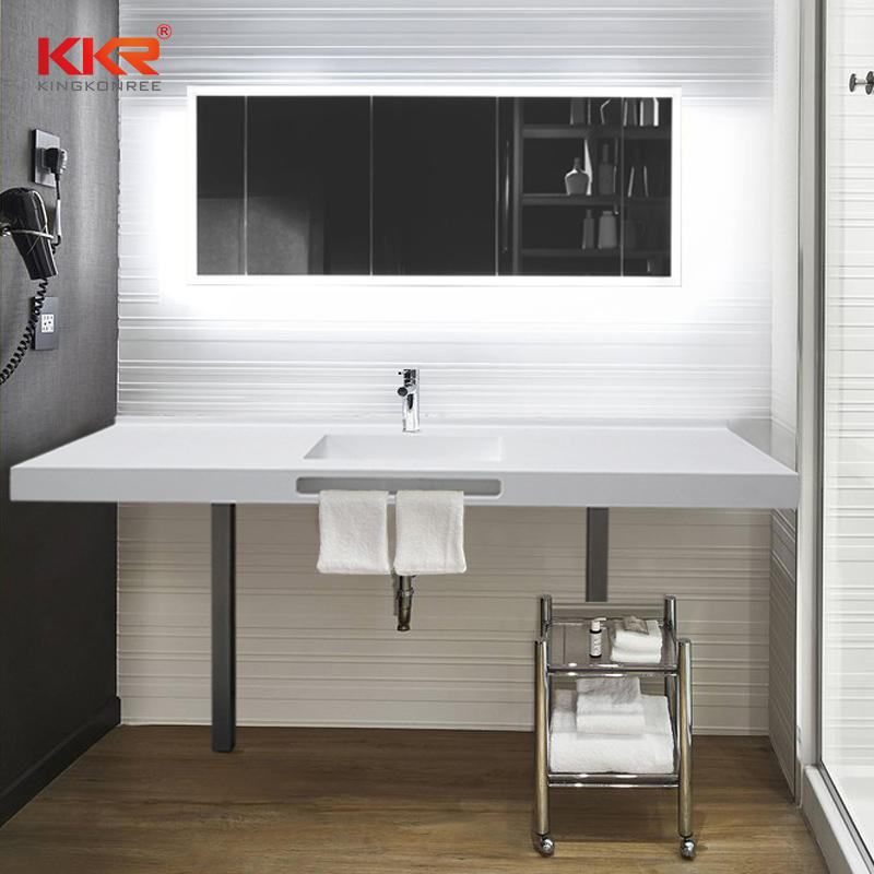 French Style Bathroom Banity Sets Solid Surface Bath Room Banity Set with Lighted Mirror
