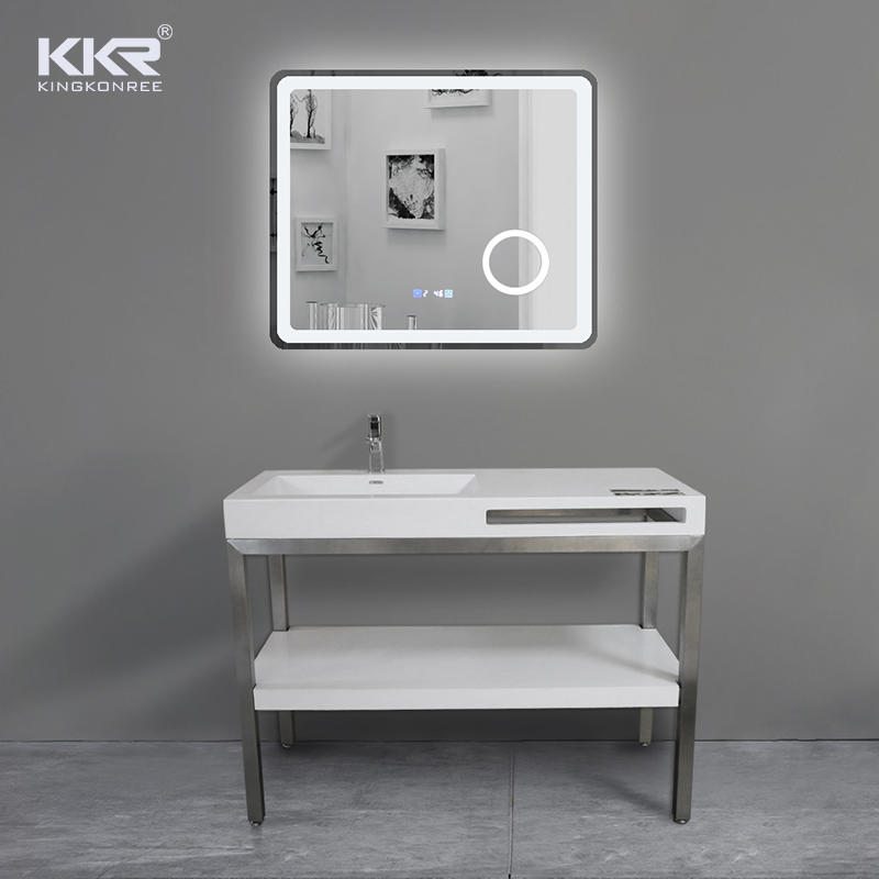 Factory Direct Solid Surface Bathroom Vanities White Bathroom Vanity Set With Lighted Mirror