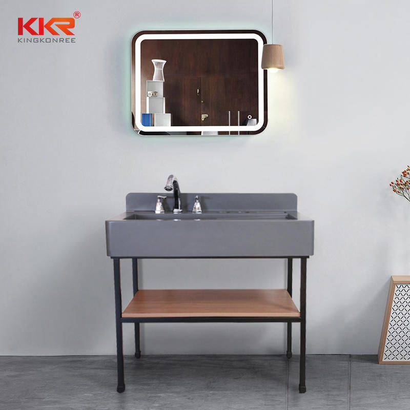 Concrete Grey Solid Surface Resin Bathroom Sink Washroom Vanity Bathroom Vanity Set With Lighted Mirror