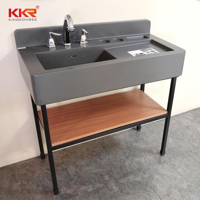 Concrete Grey Solid Surface Resin Bathroom Sink Washroom Vanity Bathroom Vanity Set With Lighted Mirror