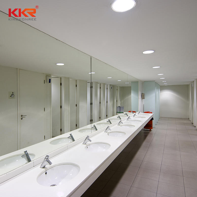 KKR Acrylic solid surface artificial stone bathroom white quartz vanity tops with sink