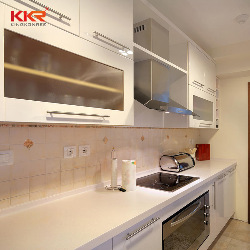 KKR Customized Artificial Stone White Marble Design Artificial Stone Kitchen Countertop