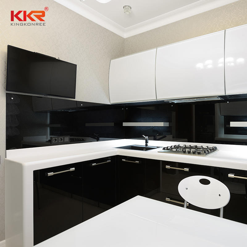 KKR Artificial White Marble Quartz Dining Table Top Kitchen Countertop Vanity Tops
