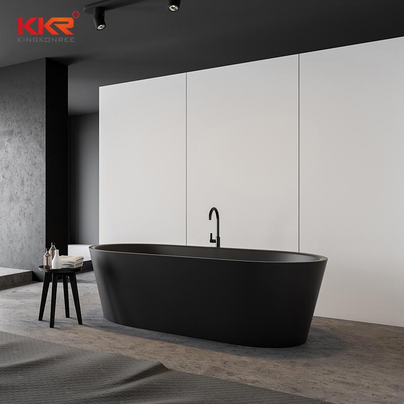 KKR Black Matte Customized Freestanding Luxury Faux Stone Acrylic Bathtub Bath Tub