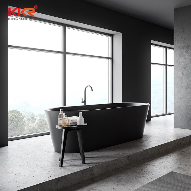 KKR Black Matte Customized Freestanding Luxury Faux Stone Acrylic Bathtub Bath Tub