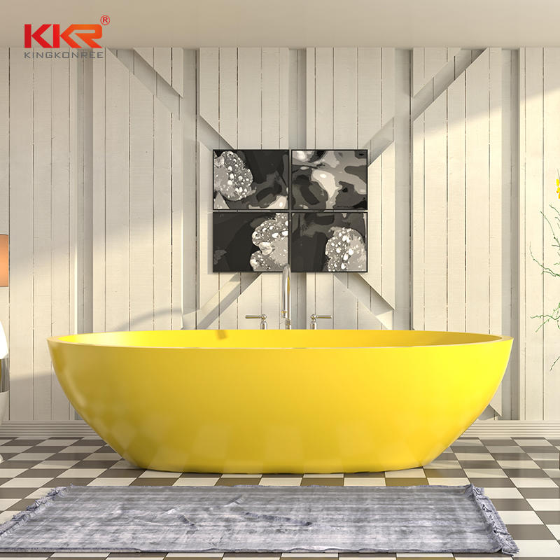 Lemon Yellow Customize Solid Surface modern colored bathtubs KKR-B003