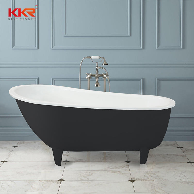 Hot selling white & Black solid surface retro bathtub with clawfoot KKR-B095