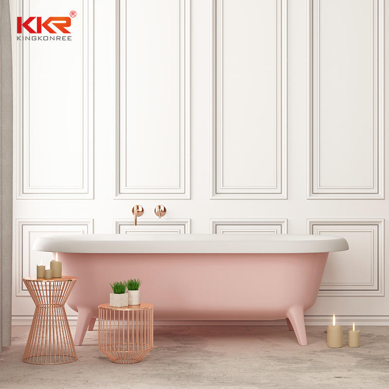 KKR colorful pink artificial stone solid surface soaking bathtubs