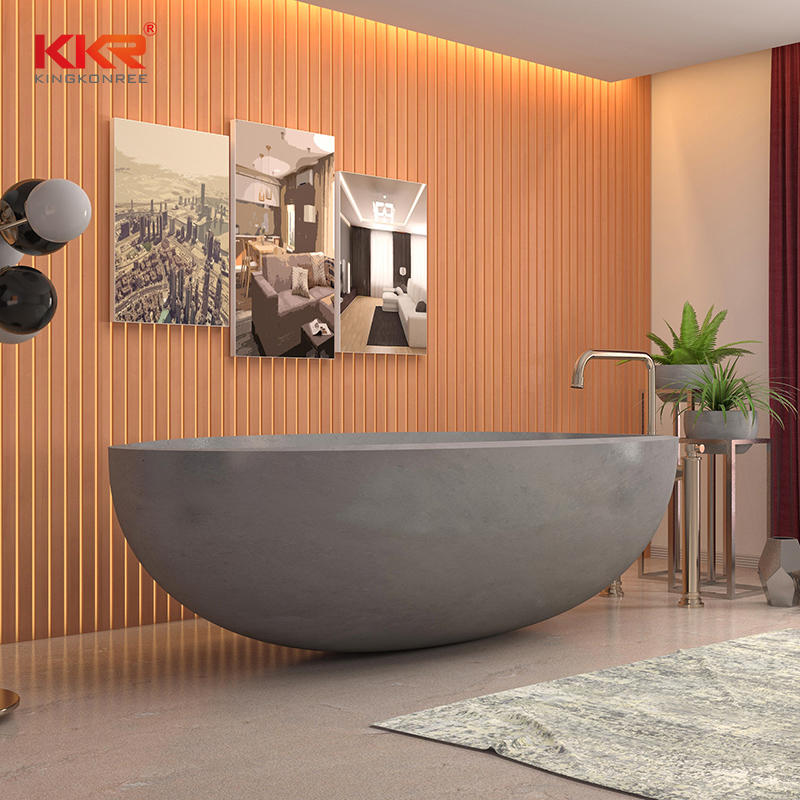 Concrete grey bathroom oval cast stone resin solid surface free stand bathtub