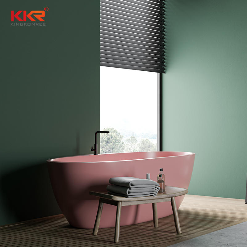 Color custmized modern design colored solid surface bathtub