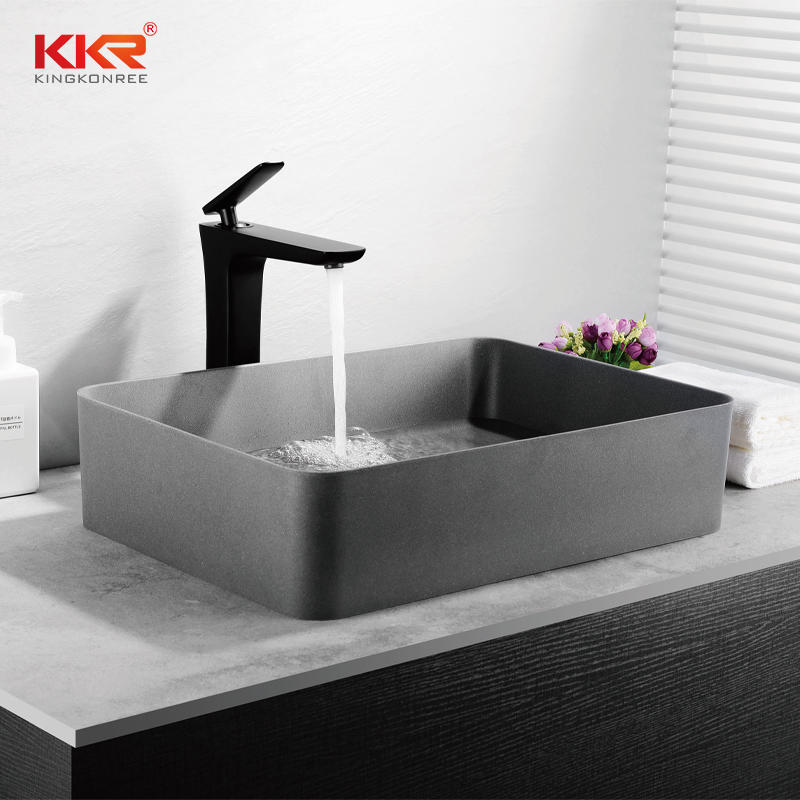 Black Bathroom Square Hand Wash Artificial Stone Quartz Sink QUARTZ SINK