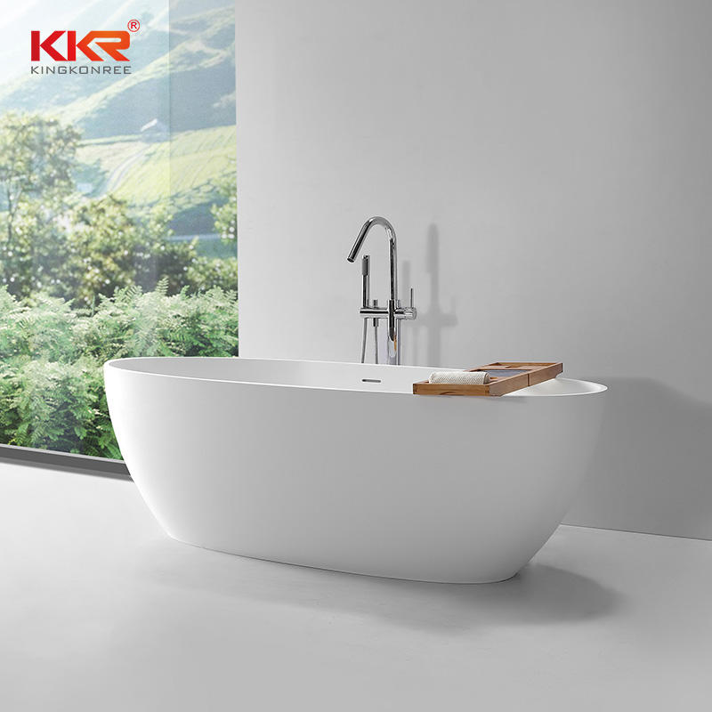 Eco-friendly oval design custom solid surface bathtub