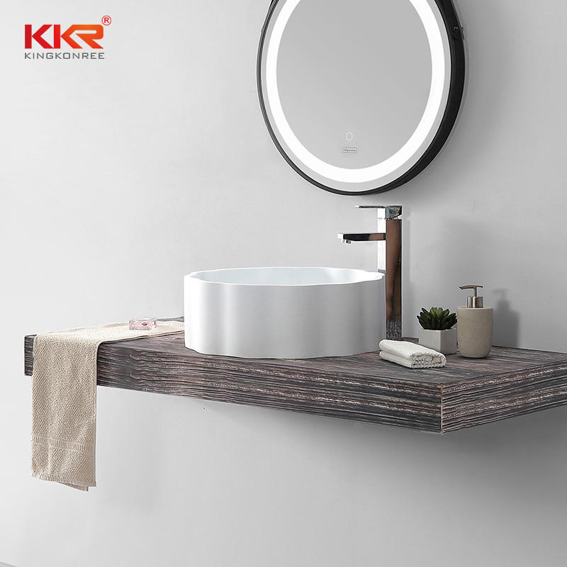 Custom White Artificial Marble Bathroom Sink Wash Basin KKR-1163