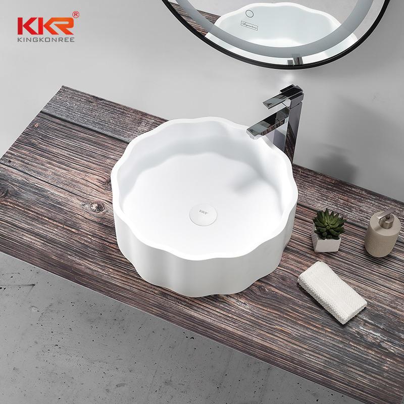 Custom White Artificial Marble Bathroom Sink Wash Basin KKR-1163