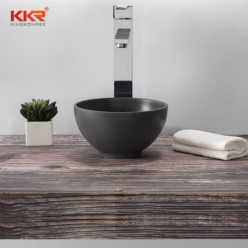 Round Small Size Black Solid Surface Above Counter Wash Basin