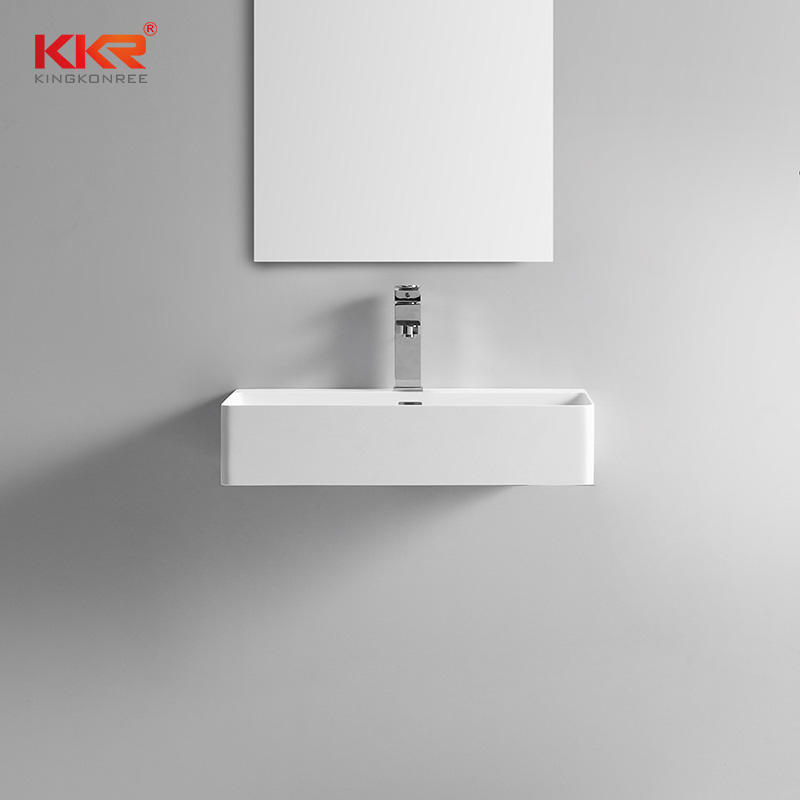 Thin Solid Surface Modern Stone Wash basin For Wall Hung