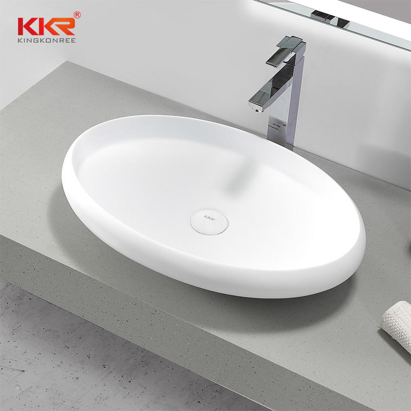 Newly Design Oval Acrylic Solid Surface Countertop Basin
