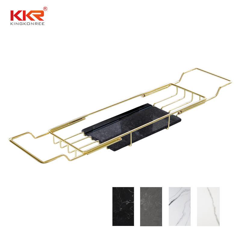 Bathroom Shelf Golden Metal Holder Bathtub Shelves