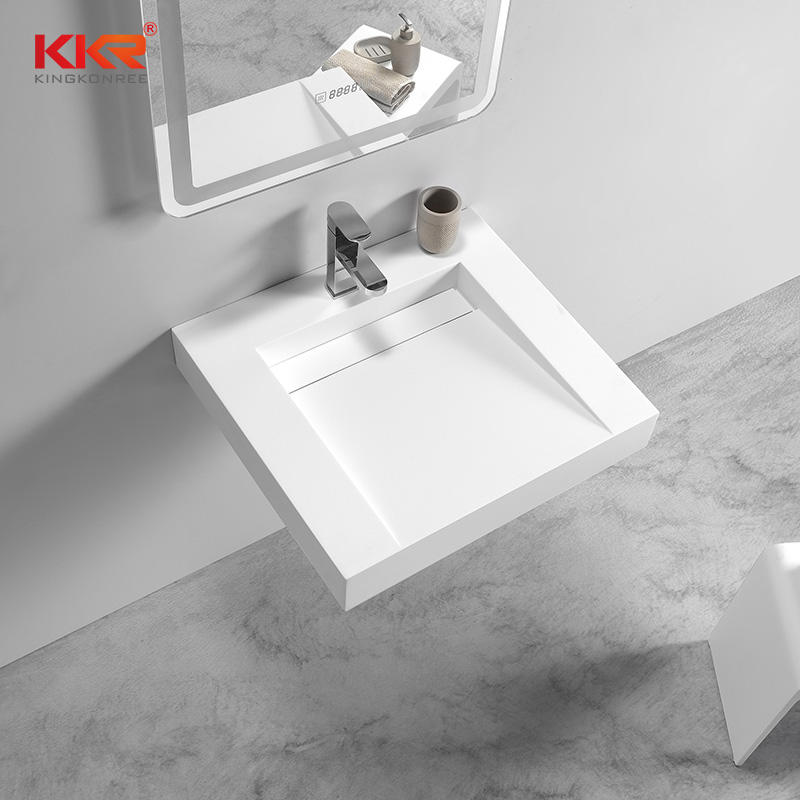Fashion Design Small Slope White Solid Surface Wall Hung Basin