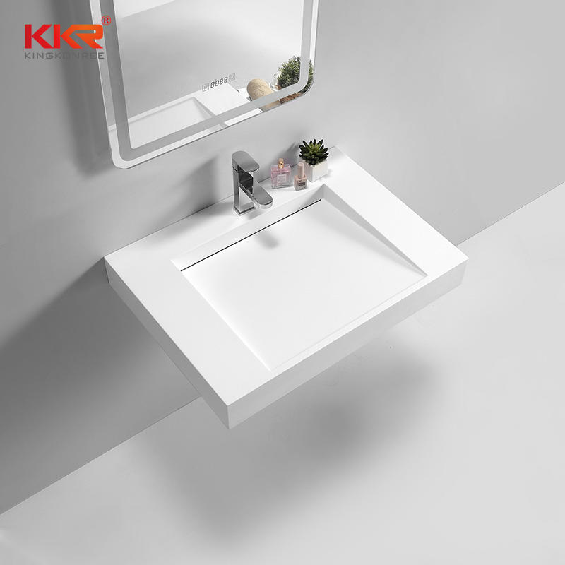 Europe Design White Solid Surface Square Wall Hung Wash Basin