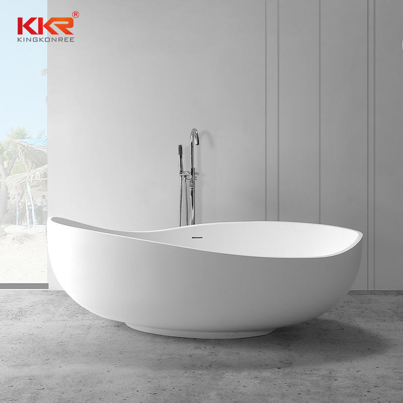 New Arrival Modern Shaped Design Freestanding White Solid Surface  Bathtub KKR-B098