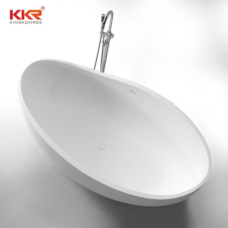 New Arrival Modern Shaped Design Freestanding White Solid Surface  Bathtub KKR-B098
