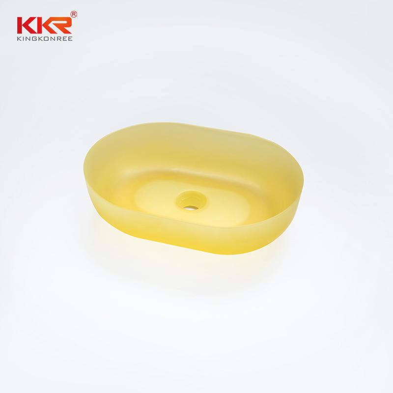 Colorful Transparent Oval Above Counter Basin KKR-1151