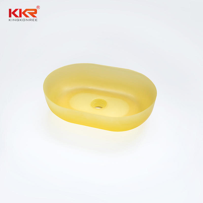 Colorful Transparent Oval Above Counter Basin KKR-1151