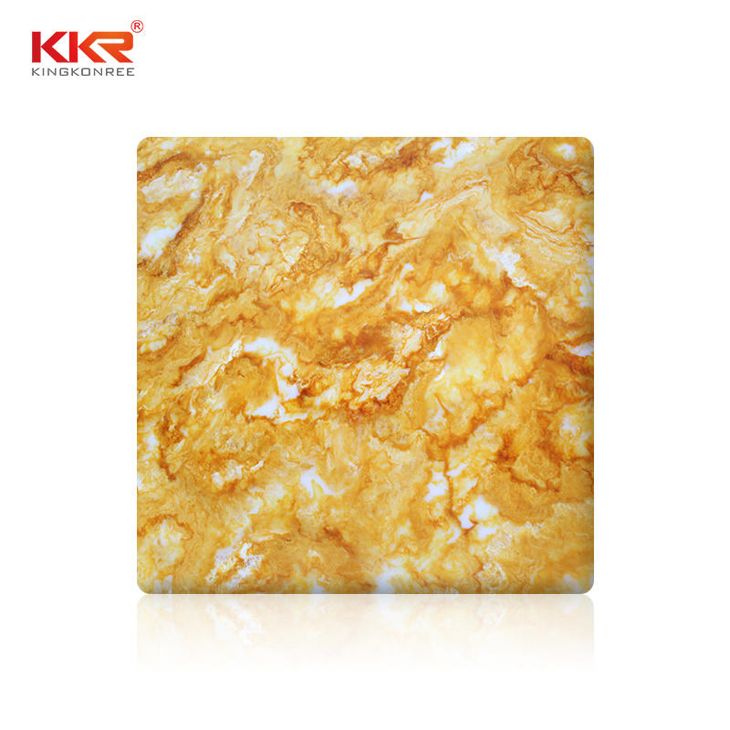 Hot Selling New Design Color Acrylic Stone Yellow Translucent Solid Surface Sheet KKR-A108