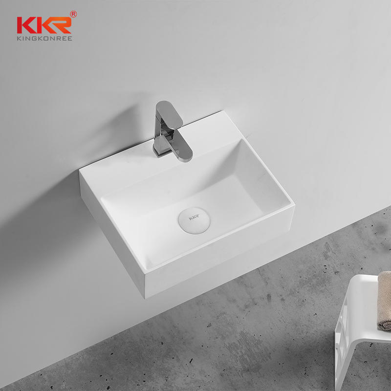 6MM Thin Edge Moden Design Acrylic Solid Surface Wall Hung Basin KKR-1105-2