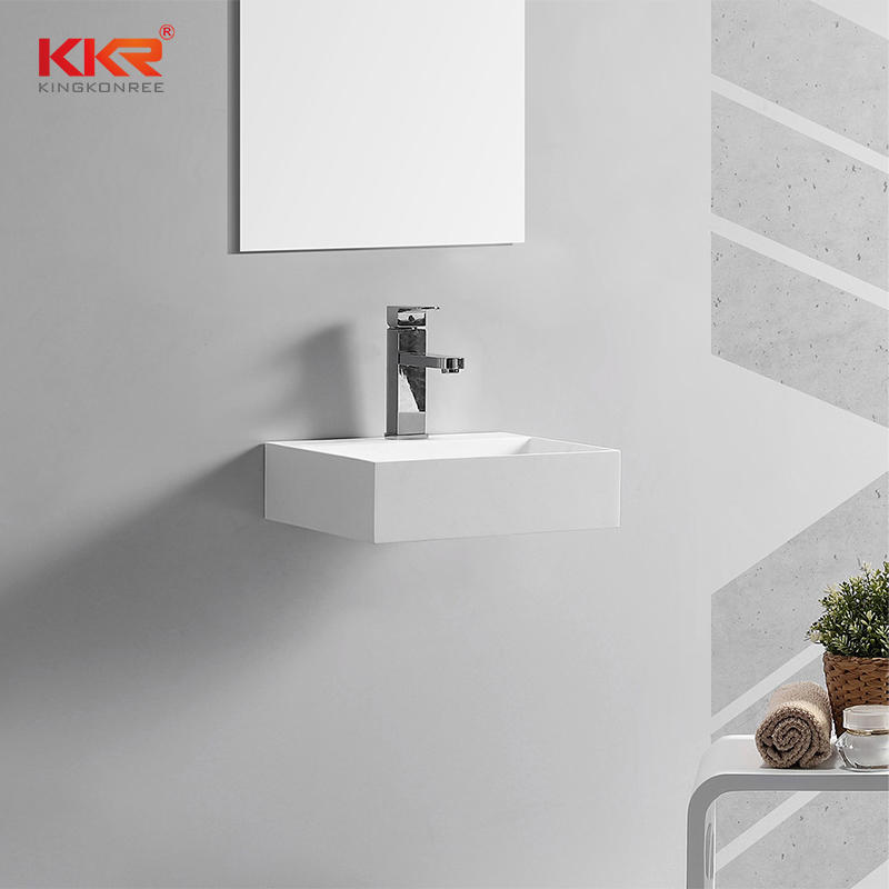 6MM Thin Edge Moden Design Acrylic Solid Surface Wall Hung Basin KKR-1105-2