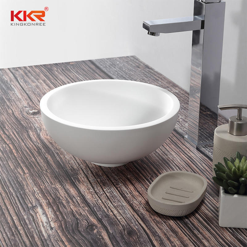 Small Size Round White Marble Solid Surface Above Counter Basin