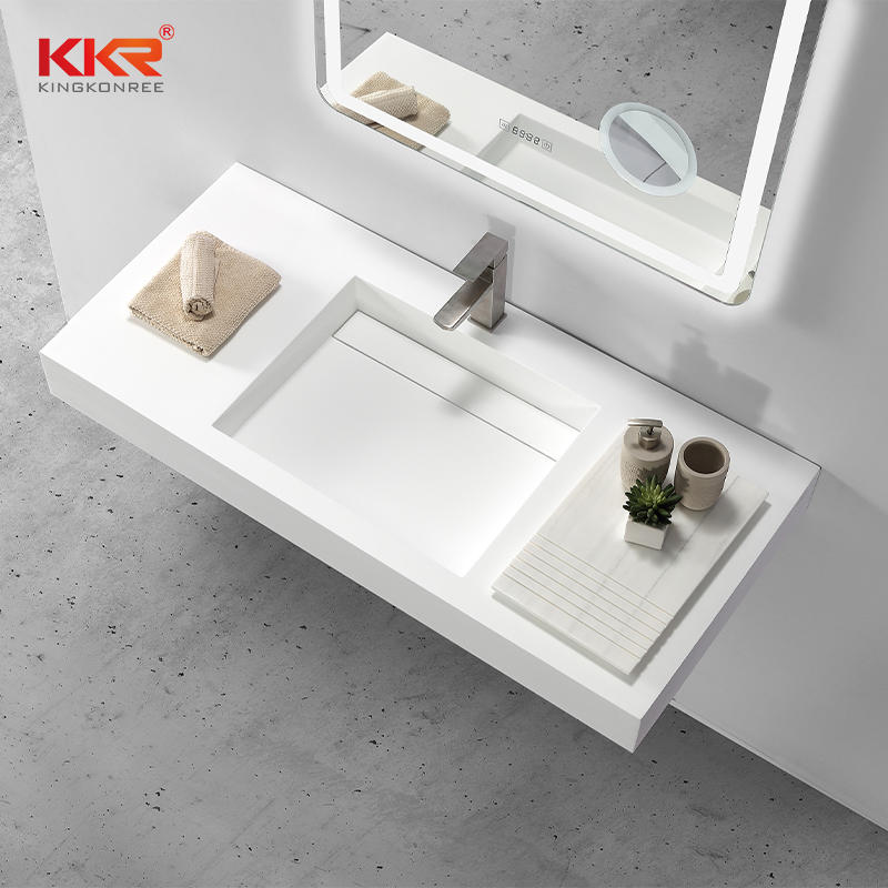 High-end Europe Fashion Design White Solid Surface Wall Hang Basin