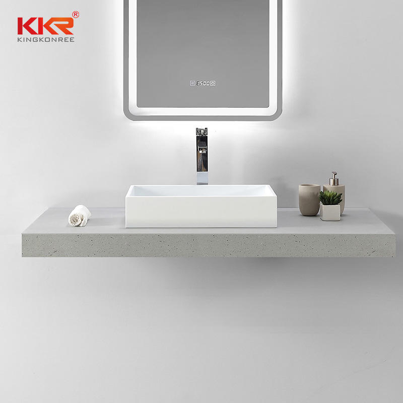 High Quality White Rectangle Acrylic Solid Surface Above Counter Basin