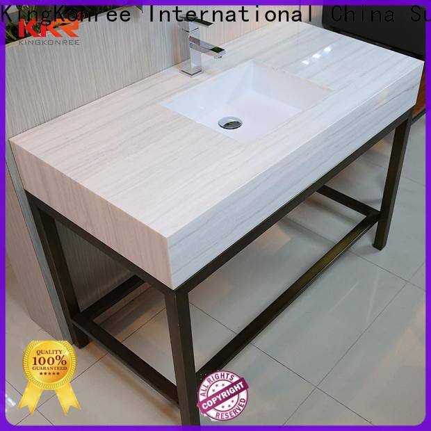 KingKonree splash solid surface bathroom countertops under-mount for motel