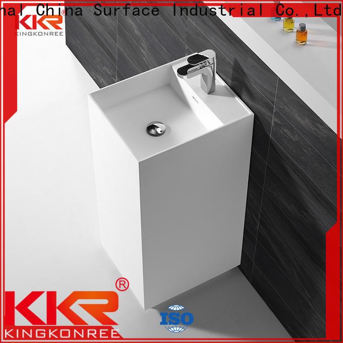 KingKonree rectangle freestanding pedestal sink supplier for hotel