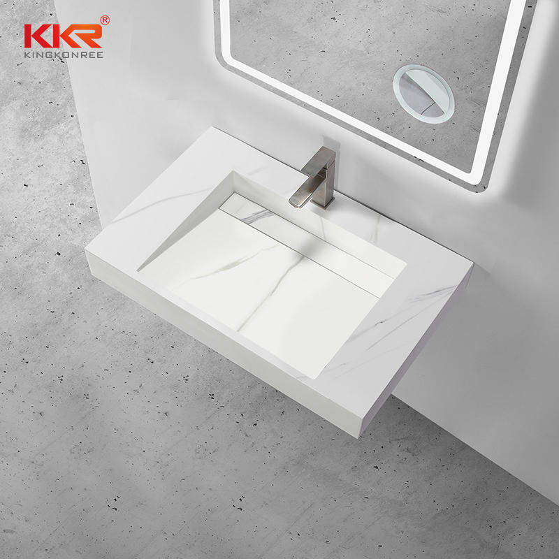 Marble Color Artificial Stone Solid Surface Wall Hung Wash Basin