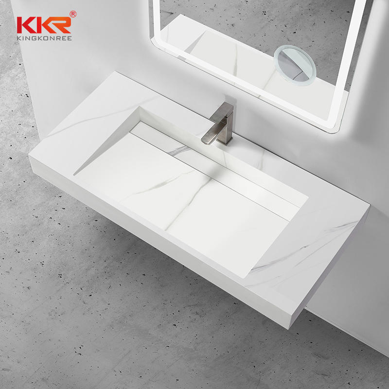 New Arrival Luxury Marble Pattern Solid Surface Wall Hung Basin