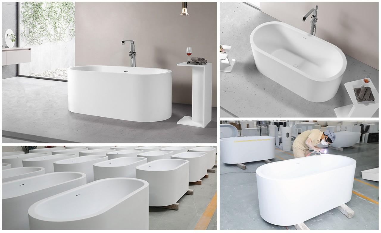 KingKonree matt stone resin freestanding bath at discount for bathroom-14