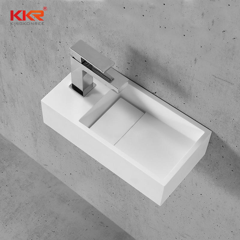 Hot Sales Custom Made Small Size Resin Stone Wall Hung Wash Basin