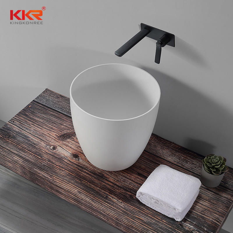 Above Counter Thin Edge Round Basin Solid Surface Bathroom Sink