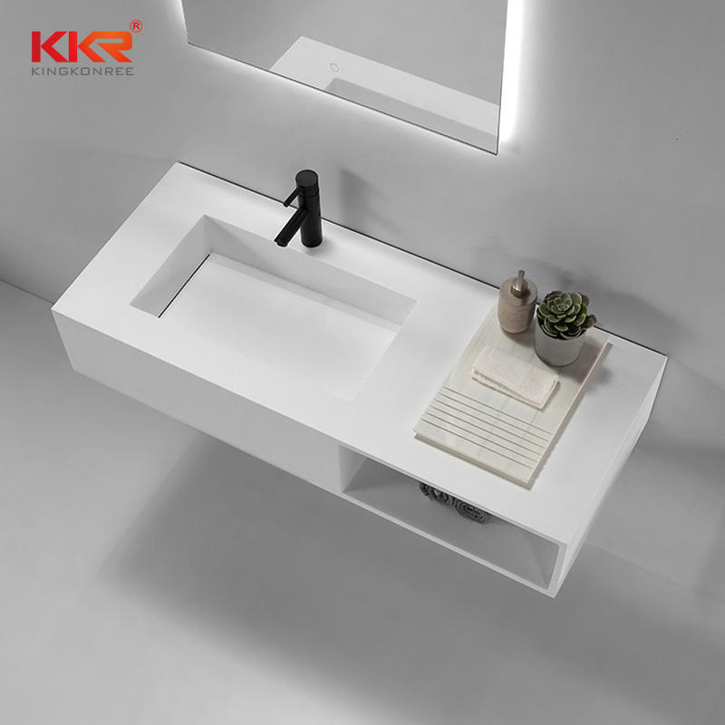 Newly Design Small Slope Solid Surface Wall Hung Washing Basin with Storage Box