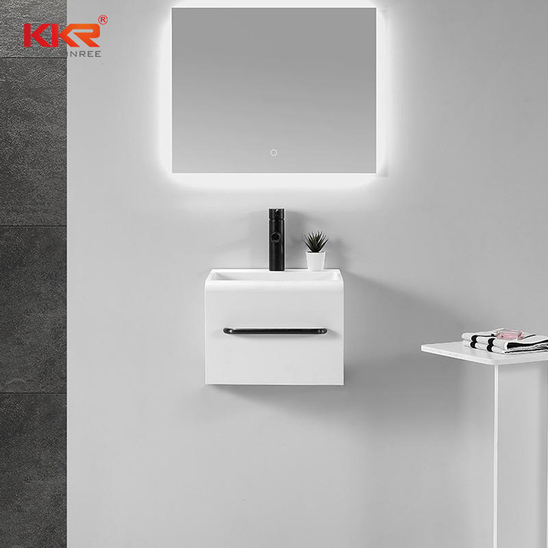 Square Customized Design Small Solid Surface Acrylic Stone Wall Hang Bathroom Basin