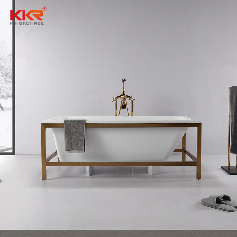 Concise Style Resin Stone Acrylic Solid Surface Bathroom Bathtub with Shelf