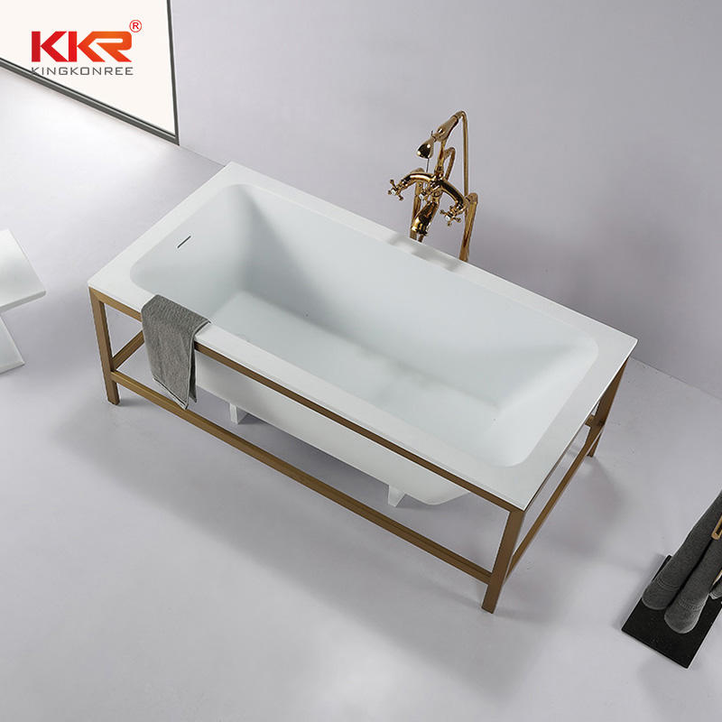 Concise Style Resin Stone Acrylic Solid Surface Bathroom Bathtub with Shelf