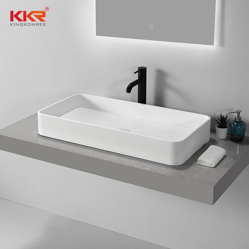 High Quality Rectangular Above Counter Top Bathroom Wash Basin